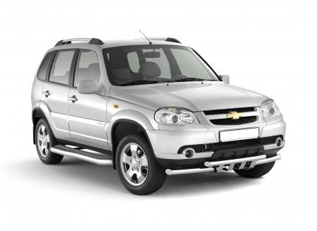 Защита порогов с алюм.фигурной площадкой d63мм Chevrolet Niva FL (нерж)